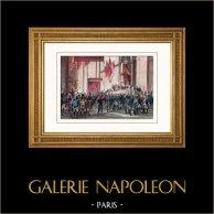 Napoleon I. - Eid aus Ehrenlegion - Invalidenhause - Invalidendom (1804) | Original stahlstich gezeichnet von Martinet, gestochen von Reville. Handaquarelliert. 1836
