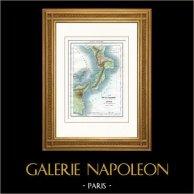 Mappa della Calabria ed Sicilia (Italia) | Incisione su acciaio originale. Anonima. Acquerellata a mano. 1836