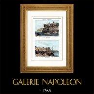 Vue - Baie de Naples - Vico - Mola di Gaeta - (Italie) | Gravure sur acier originale dessinée par Buttura, gravée par Lacauchie. Aquarellée à la main. 1836