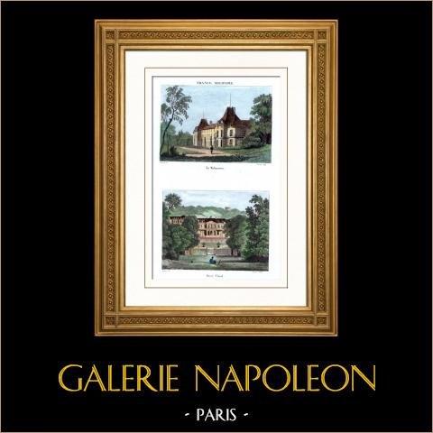 Castello di Malmaison - Napoleone Buonaparte - Joséphine de Beauharnais - Castello di Saint-Cloud - Île-de-France | Incisione su acciaio originale disegnata da Buttura, François, incisa da Couché. Acquerellata a mano. 1836