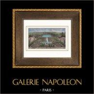 Schloss Versailles - Garten - Orangerie - Pièce d'Eau des Suisses | Original stahlstich gezeichnet von Jaime, gestochen von Best et Hotelin. Handaquarelliert. 1850