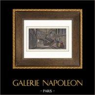 Palazzo di Versailles - Escalier de la Reine - Rampa | Incisione su acciaio originale disegnata da Jaime, incisa da Best et Hotelin. Acquerellata a mano. 1850