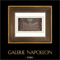 Château de Versailles - Salle de Spectacle | Gravure sur acier originale dessinée par Jaime, gravée par Best et Hotelin. Aquarellée à la main. 1850