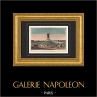 Vista de Paris - Fuente de Elefante - Bastilla - Proyecto de Napoleón | Original copre grabado dibujado por Courvoisier, grabado por Nyon Jeune. Agua-coloreado a mano de epoca. 1820
