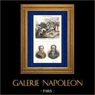 Campagne d'Égypte - Guerres Napoléoniennes - Général Kléber Blessé à l'Assaut d'Alexandrie - Portraits - Vivant Denon - Gaspard Monge - France Militaire