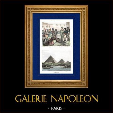 Kampania Napoleońska w Egipcie - Imperium Otomańskie - Napoleon Bonaparte Przebaczająca Rebeliantów w Cairo - Armee D'orient - 1798 - Mamulety - Piramidy |