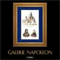Campaña Napoleónica en Egipto - Imperio Otomano - Armée d'Orient - Mameluco - Dromedario - Retratos - General Desaix (1768-1800) - Mourad Bey (1750-1801)