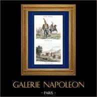 Napoleonisk Soldat - Uniform - Husar - Hussard - Kavalleri (1798) - Sikte av Castel Nuovo - Neapel (Italien) | Original stålstick efter teckningar av Martinet, Buttura, graverade av Réville, Couché. Akvarell handkolorerad. 1835