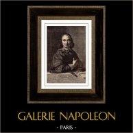 Retrato de Antoine Vitré (1595-1674) - Philippe de Champaigne | Original grabado en madera (xilografía) segùn Philippe de Champaigne grabado por Morin. 1886