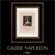 Portrait de Madame de Staël (1766-1817) - Ecrivain - Essayiste - Salon Littéraire | Gravure sur acier originale d'après Gerard gravée par Fry. 1840