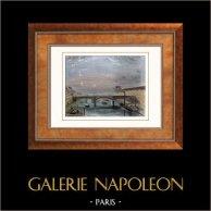 View of Paris - Louvre - Seine - Bridge - Pont du Carrousel (France)