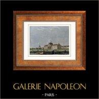 Vista de París - Campo de Marte - Champ-de-Mars - Escuela Militar - Ecole Militaire (Francia) | Original acero grabado. Anónimo. Agua-coloreado a mano. 1852