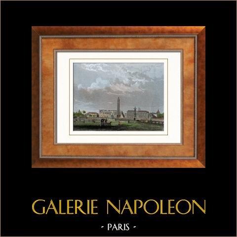 Vista de Paris - Place de la Concorde - Praça da Concórdia - Obelisco de Luxor (França) | Gravura em metal aço original. Anónima. Aquarelada a mão. 1852