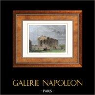 Vue de Paris - Eglise La Madeleine (France) | Gravure sur acier originale. Anonyme. Aquarellée à la main. 1852