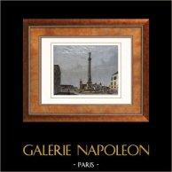 Vue de Paris - Fontaine du Palmier - Place du Châtelet (France) | Gravure sur acier originale. Anonyme. Aquarellée à la main. 1852