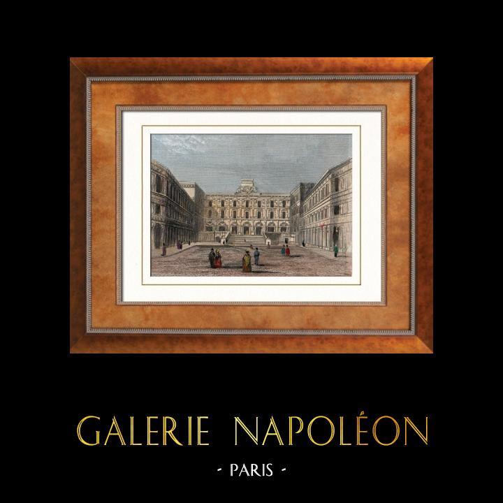 Gravures Anciennes & Dessins   Vue de Paris - Gare de Chemin de fer vers Versailles - Saint-Germain-en-Laye - Rouen (France)   Taille-douce   1852