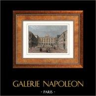 Vue de Paris - Gare de Chemin de fer vers Versailles - Saint-Germain-en-Laye - Rouen (France) | Gravure sur acier originale. Anonyme. Aquarellée à la main. 1852