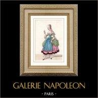 Costume du Théâtre Français - Melle Berthault - Coraline - Perruche | Gravure sur acier originale. Anonyme. Aquarellée à la main (coloris d'époque). 1850