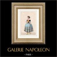 Costume du Théâtre Français - Melle Nathalie - Maria - Les Jolies Filles de Spielberg | Gravure sur acier originale. Anonyme. Aquarellée à la main (coloris d'époque). 1850
