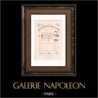 Exposition Universelle 1878 - Paris - Pavillon du Ministère des Travaux (De Dartein)   Gravure sur acier originale dessinée par Calinaud, gravée par P. Bury. 1878