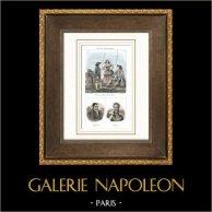 French Regional Costumes - Traditions and Folklore - Haute-Loire - Portraits - Marquis de La Fayette (1757-1834) - Jules de Polignac (1780-1847)