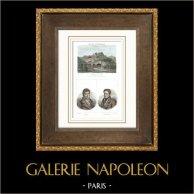 Vista de Chateauneuf - Rive-de-Gier - Ruinas - Castillo - Ferrocarril - Tren (Loire - Loira - Francia) - Retratos - André Galle (1761-1844) - Joseph Berchoux (1760-1838)