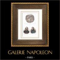 Médaillon de Tetricus Ier et Tetricus II le Jeune - Usurpateurs romains - Empire des Gaules - Portraits - Palissy (1510-1589) - Lacépède (1756-1825)