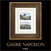 Vue du Pont du Gard - Chartreuse Notre-Dame-du-Val-de-Bénédiction - Villeneuve-lès-Avignon (Languedoc-Roussillon - France) | Gravure sur acier originale. Anonyme. Aquarellée à la main. 1835