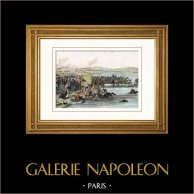 Napoleone Bonaparte - Passaggio di Napoleone a Beresina (1812) - Guerre napoleoniche - Invasione Napoleonica della Russia   Incisione su acciaio originale disegnata da Martinet, incisa da Reville. Acquerellata a mano. 1838