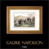 Guerre napoleoniche - Napoleone Bonaparte - Battaglia di Bautzen (Mai 1813) - Morte di Duroc - Campagna di Germania - 6a coalizione | Incisione su acciaio originale disegnata da Martinet, incisa da Reville. Acquerellata a mano. 1838