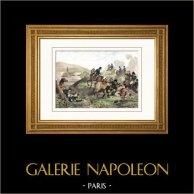 Guerre napoleoniche - Napoleone Bonaparte - Battaglia di Bautzen - Wurschen  (Mai 1813) - Morte di Duroc - Campagna di Germania | Incisione su acciaio originale disegnata da Martinet, incisa da Reville. Acquerellata a mano. 1838