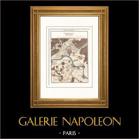 Antieke kaart - Napoleontische Oorlogen - Slag bij Hanau (1813) - Campagne in Duitsland - Zesde Coalitie |