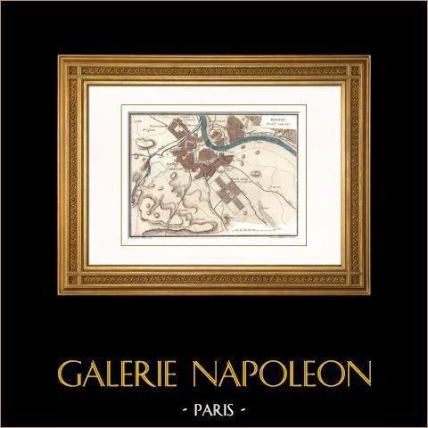 Antieke kaart - Napoleontische Oorlogen - De Slag bij Dresden - Overlijden van Moreau (1813) |