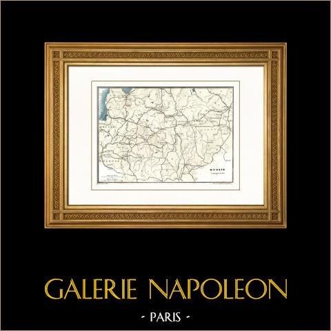 Antieke kaart van Rusland (1812) - Campagne in Rusland - Napoleon I - Napoleontische Oorlogen |
