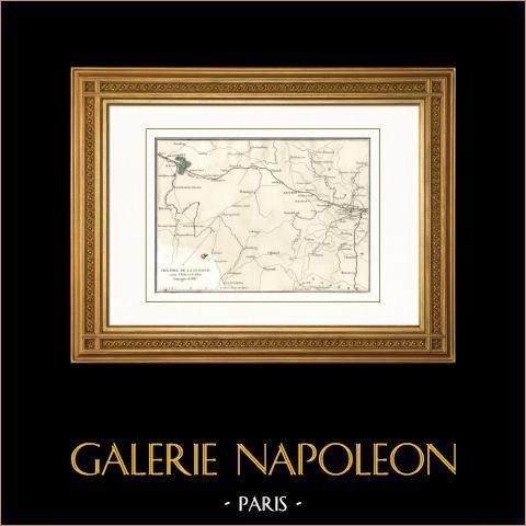 Antieke kaart - Campagne in Duitsland (1813) - Napoleon I - Napoleontische Oorlogen - Elbe - Rijn |