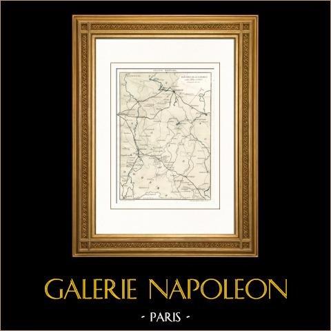 Antieke kaart - Campagne in Duitsland (1813) - Napoleon I - Napoleontische Oorlogen - Elbe - Oder |