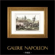 Guerres napoléoniennes - Campagne de Russie - Bataille de Valoutina-Gora - Gudin (Août 1812) | Gravure sur acier originale dessinée par Martinet, gravée par Reville. Aquarellée à la main. 1838