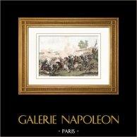 Guerres napoléoniennes - Campagne de France - Bataille de Vauchamps (14 février 1814) | Gravure sur acier originale dessinée par Martinet, gravée par Reville. Aquarellée à la main. 1838