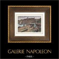 Vue de Cannes - La Vieille Ville (France) | Gravure sur bois originale dessinée par W. Hatherill, gravée par N. Blosse. Aquarellée à la main. 1894