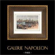 Vue de Marseille - Les Docks - Le Vieux Port (France)   Gravure sur bois originale gravée par N. Blosse. Aquarellée à la main. 1894