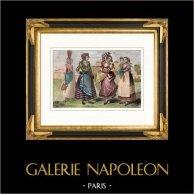 Costume Traditionnel - Italie - Naples - Caravilli - Danseuse - Tarentelle   Gravure sur acier originale dessinée par Demoraine, gravée par Danois. Aquarellée à la main. 1850