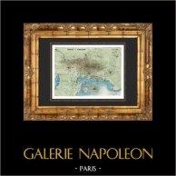 Antique map - Napoleon Bonaparte - Siege of Toulon - French Revolutionary Wars - 1793