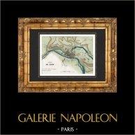 Antigo mapa - Guerras revolucionárias francesas - Sitio da Lião (1793)