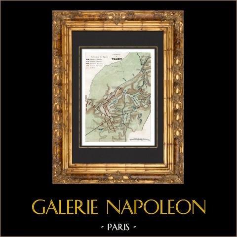 Mappa - Campo di Battaglia di Valmy - 1792 - Guerre rivoluzionarie francesi | Incisione su acciaio originale disegnata da Monin, incisa da Laguillermie et Ramboz. Acquerellata a mano. 1835