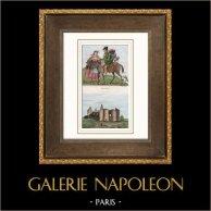 Marodeure - Schloss von Machecoul (Loire-Atlantique - Frankreich) | Original stahlstich gezeichnet von Roland, Fleury, gestochen von Masson, Duc. Handaquarelliert. 1835
