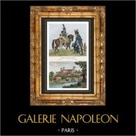 Französische Armee - Kavallerie - Husaren und Dragoner - 1793 - Ansicht von Villa Garenne-Valentin zu Clisson (Loire-Atlantique - Frankreich) | Original stahlstich. Anonyme. Handaquarelliert. 1835