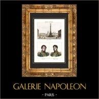 Ancienne Colonne sur la Place du Chatelet à Paris (1858) - Portraits - Dejean (1780-1845) - Philippe de Ségur (1780-1873) | Gravure sur acier originale. Anonyme. Aquarellée à la main. 1838
