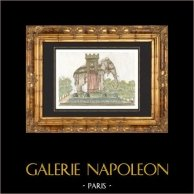 Fuente de Elefante - Bastilla - Paris - Proyecto de Napoleón | Original acero grabado. Anónimo. Agua-coloreado a mano. 1838