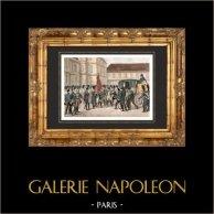 Guerres Napoléoniennes - Départ de Napoléon pour Sainte Hélène - Adieux de Fontainebleau (1814)   Gravure sur acier originale dessinée par Martinet, gravée par Réville. Aquarellée à la main. 1838