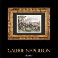 Guerres napoléoniennes - Bataille de Montereau (1814) - Campagne de France - Sixième Coalition | Gravure sur acier originale dessinée par Martinet, gravée par Réville. Aquarellée à la main. 1838